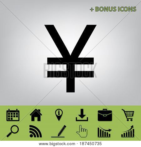 Yen sign. Vector. Black icon at gray background with bonus icons at celery ones