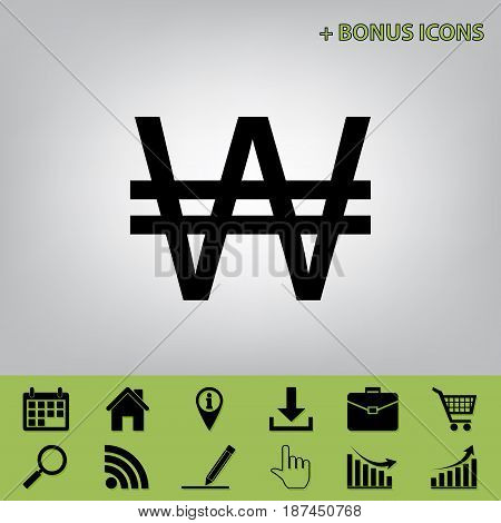 Won sign. Vector. Black icon at gray background with bonus icons at celery ones