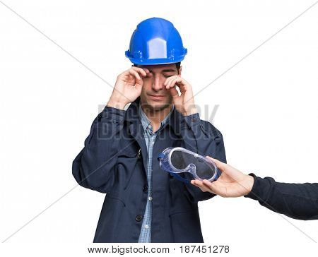Worker suffering for an eyes irritation. Isolated on white