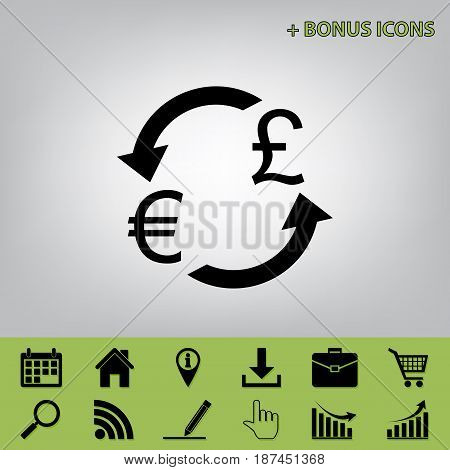 Currency exchange sign. Euro and UK Pound. Vector. Black icon at gray background with bonus icons at celery ones