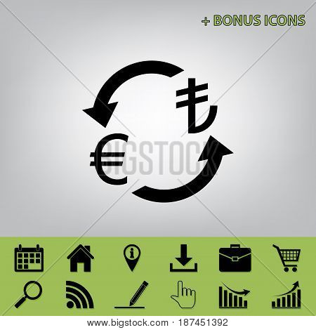 Currency exchange sign. Euro and Turkey Lira. Vector. Black icon at gray background with bonus icons at celery ones