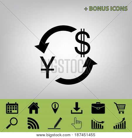 Currency exchange sign. China Yuan and US Dollar. Vector. Black icon at gray background with bonus icons at celery ones