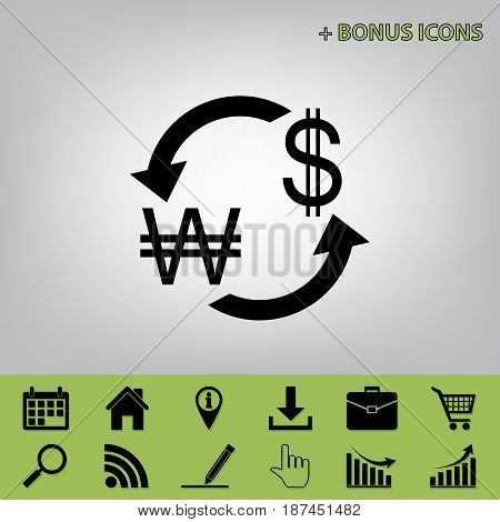 Currency exchange sign. South Korea Won and US Dollar. Vector. Black icon at gray background with bonus icons at celery ones