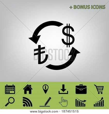 Currency exchange sign. Turkey Lira and US Dollar. Vector. Black icon at gray background with bonus icons at celery ones