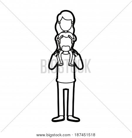 caricature thick contour faceless bearded father with moustache and girl on his back vector illustration
