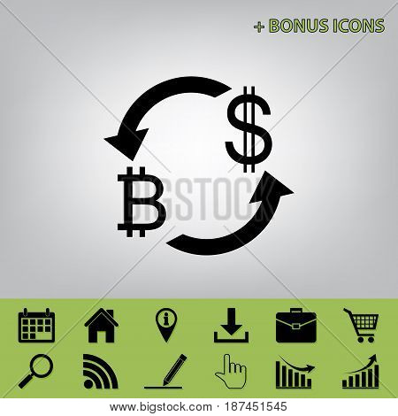 Currency exchange sign. Bitcoin and US Dollar. Vector. Black icon at gray background with bonus icons at celery ones