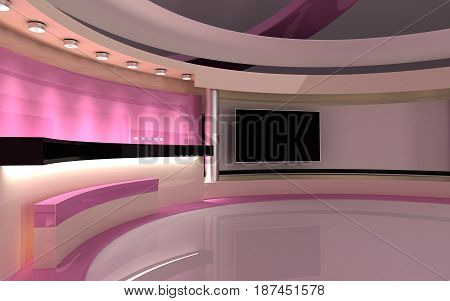 Studio. Tv Studio. News Room. Breaking News. 3D Rendering.