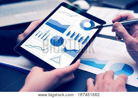Business people using a tablet, creative filter