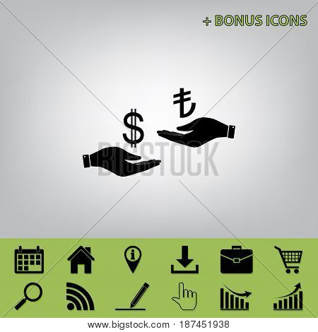 Currency exchange from hand to hand. Dollar and Turkey Lira. Vector. Black icon at gray background with bonus icons at celery ones