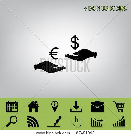 Currency exchange from hand to hand. Euro and Dollar. Vector. Black icon at gray background with bonus icons at celery ones