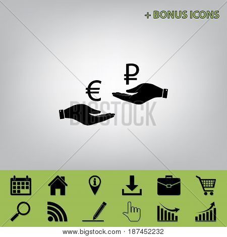 Currency exchange from hand to hand. Euro and Ruble. Vector. Black icon at gray background with bonus icons at celery ones