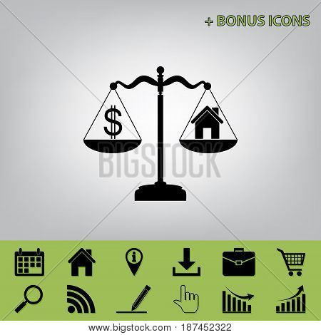House and dollar symbol on scales. Vector. Black icon at gray background with bonus icons at celery ones