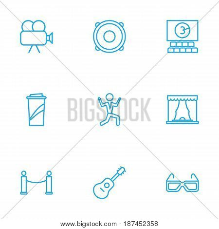 Set Of 9 Entertainment Outline Icons Set.Collection Of 3D Glasses, Movie Cam, Barrier Rope And Other Elements.