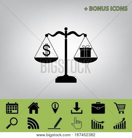 Gift and dollar symbol on scales. Vector. Black icon at gray background with bonus icons at celery ones