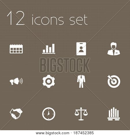 Set Of 12 Employment Icons Set.Collection Of Clothes, Balance, Goal And Other Elements.