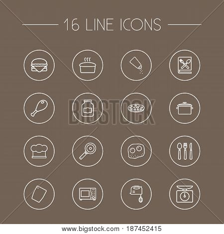 Set Of 16 Cooking Outline Icons Set.Collection Of Scales, Chicken Leg, Mixer And Other Elements.