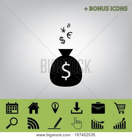 Money bag sign with currency symbols. Vector. Black icon at gray background with bonus icons at celery ones