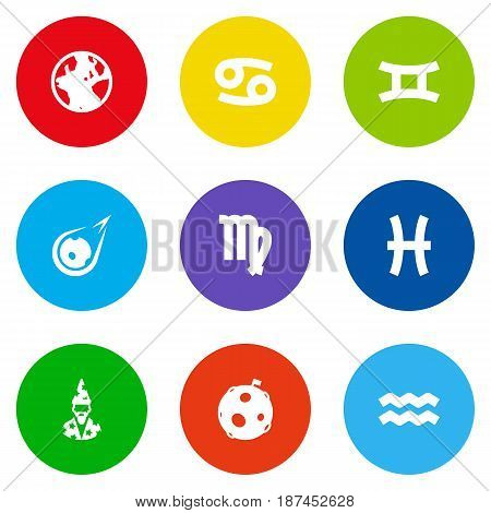 Set Of 9 Astronomy Icons Set.Collection Of Lunar, Twins, Virgin And Other Elements.