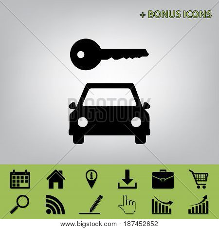 Car key simplistic sign. Vector. Black icon at gray background with bonus icons at celery ones