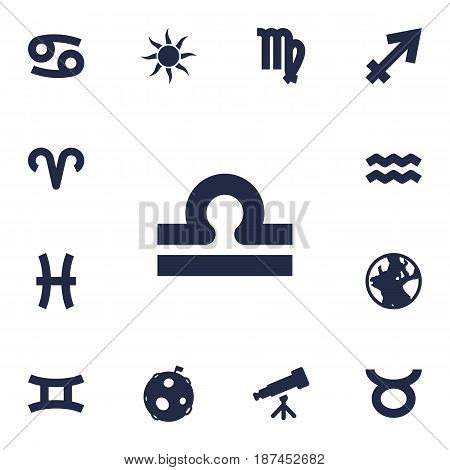Set Of 13 Astrology Icons Set.Collection Of Archer, Virgin, Earth Planet And Other Elements.