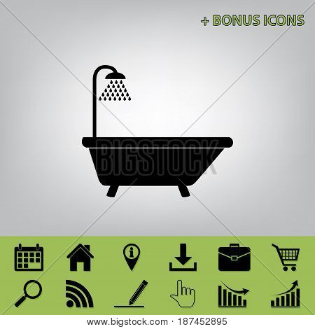 Bathtub sign. Vector. Black icon at gray background with bonus icons at celery ones