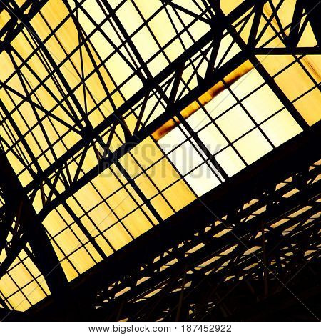 Skylight window of old industrial building - abstract architectural background