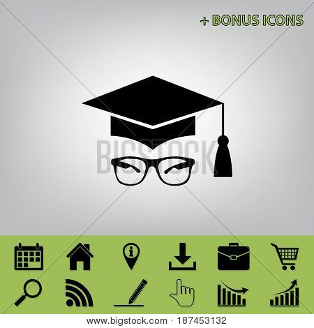 Mortar Board or Graduation Cap with glass. Vector. Black icon at gray background with bonus icons at celery ones