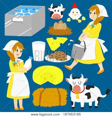 Milkmaid character, animals, and items vector collection
