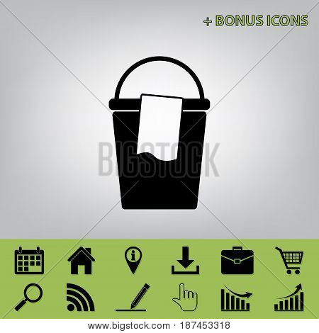 Bucket and a rag sign. Vector. Black icon at gray background with bonus icons at celery ones