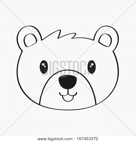 cute bear line art vector on white background