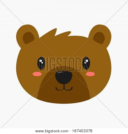 cute smiling brown bear vector, on white background
