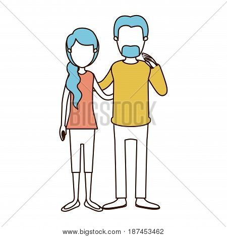 caricature faceless color sections and blue hair of full body woman with ponytail side hair and man embracing couple vector illustration