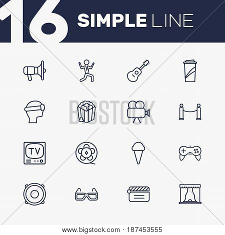 Set Of 16 Amusement Outline Icons Set.Collection Of Speaker, Ice Cream, Tv Set And Other Elements.