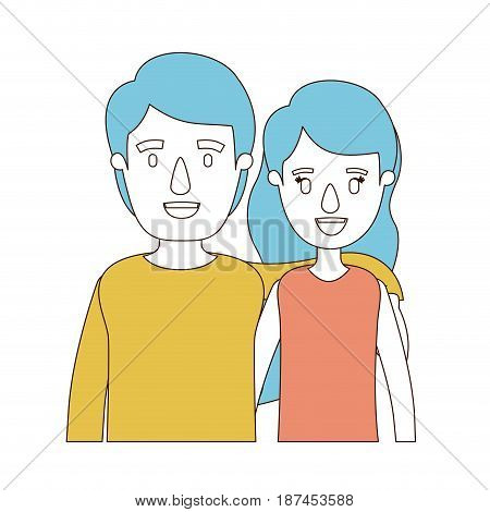 caricature color sections and blue hair of half body woman with long wavy hair and man embracing couple vector illustration