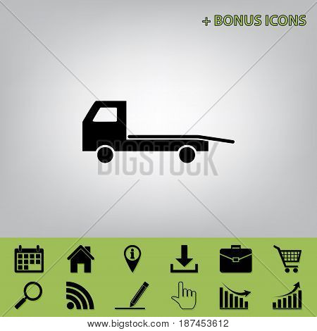 Service of evacuation sign. Wrecking car side. Car evacuator. Vehicle towing. Vector. Black icon at gray background with bonus icons at celery ones