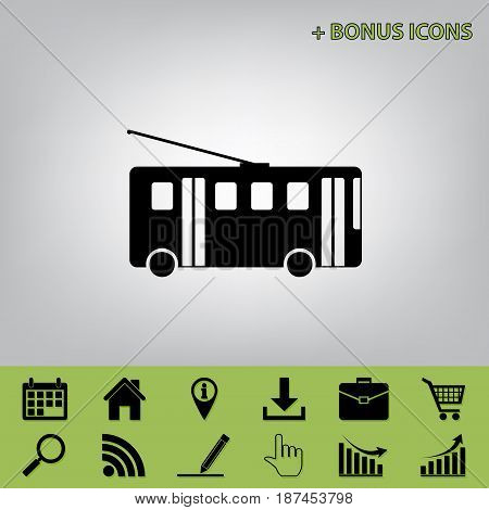 Trolleybus sign. Vector. Black icon at gray background with bonus icons at celery ones