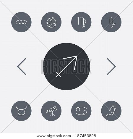 Set Of 9 Horoscope Outline Icons Set.Collection Of Virgo, Taurus, Telescope And Other Elements.