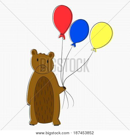 bear holding red blue and yellow balloon line art vector