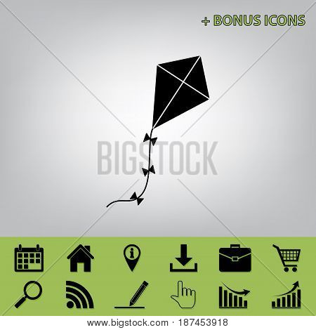 Kite sign. Vector. Black icon at gray background with bonus icons at celery ones