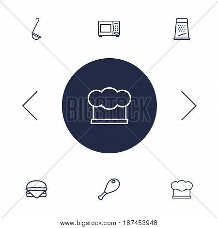 Set Of 6 Kitchen Outline Icons Set.Collection Of Microwave, Ladle, Grater And Other Elements.