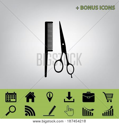 Barber shop sign. Vector. Black icon at gray background with bonus icons at celery ones