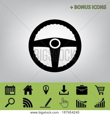 Car driver sign. Vector. Black icon at gray background with bonus icons at celery ones