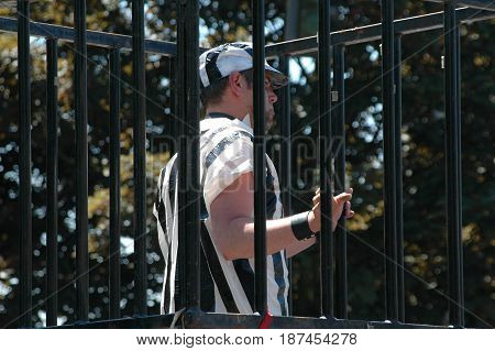 MAY 25, 2006. SEATTLE, WA.  CIRCA: Gay male locked up in jail on Gay, Lesbian Pride Day Celebration in Seattle, Wa.