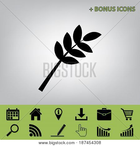 Tree branch sign. Vector. Black icon at gray background with bonus icons at celery ones
