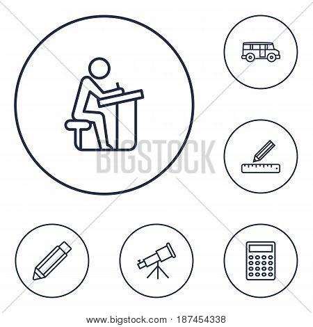 Set Of 6 Education Outline Icons Set.Collection Of Bus, Calculator, Telescope And Other Elements.