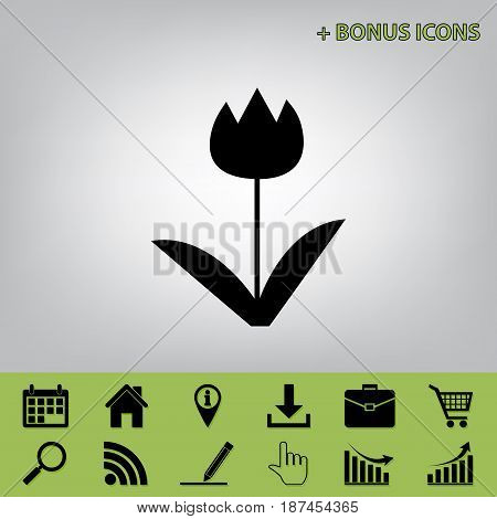 Tulip sign. Vector. Black icon at gray background with bonus icons at celery ones
