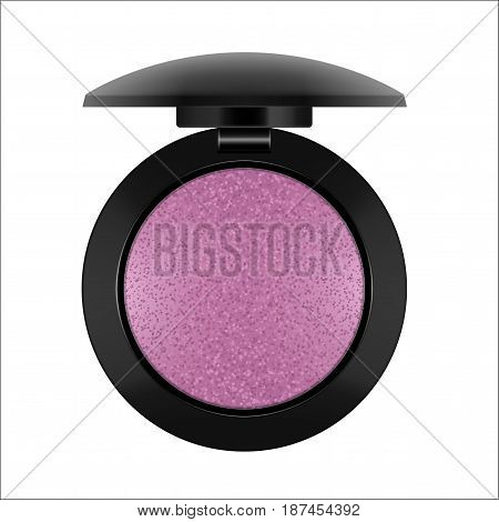 Realistic sparkling eyeshadow. Package with purple eye shadow for makeup. Containers of cosmetic product for beauty eyes. Vector illustration isolated on white background.