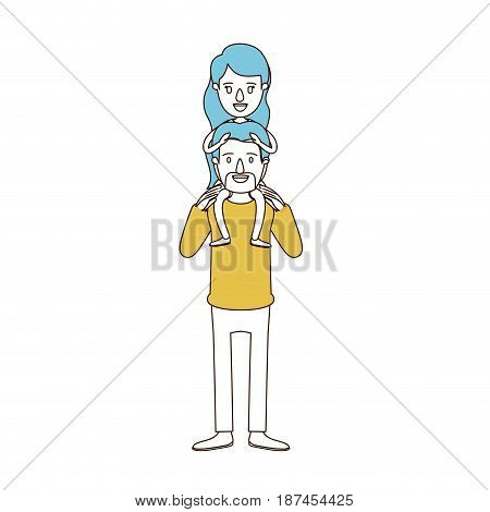 caricature color sections and blue hair of bearded father with moustache and girl on his back vector illustration