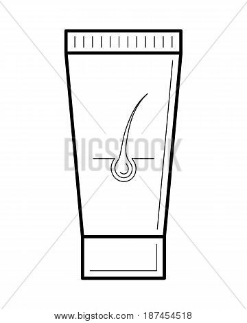 Hair removal cream, depilatory product in a tube, silky smooth result. Beauty and body care concept, line art object isolated on white background. Vector illustration