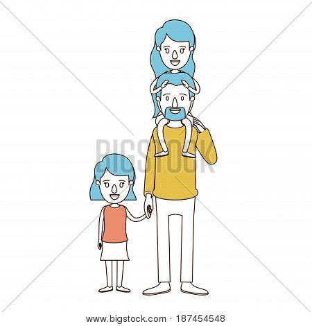 caricature color sections and blue hair of dad with daugther on his back and girl taken hands vector illustration